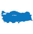 blue map of turkey with capital city ankara turke vector image