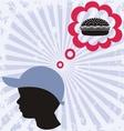 Boy and hamburger vector image