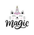 capricorn cat unicorn cartoon character vector image vector image