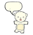 cartoon shocked polar bear cub with speech bubble vector image vector image