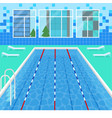 cartoon swimming pool interior card poster vector image vector image