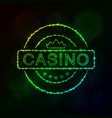 casino emblem silhouette of lights vector image vector image
