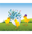 Chickens and Easter egg vector image vector image