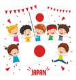 children holding japan flag vector image vector image