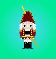 Christmas nutcracker - soldier figurine icon vector image