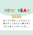 christmas paper cut out decorative font new year vector image vector image