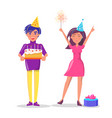 couple celebrate party man woman cake isolated vector image vector image