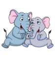 Cute couple elephant cartoon vector image