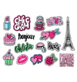 Cute fashion patch badges with lips hearts vector image vector image