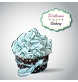 Cute party cupcake on delicate striped vector image vector image