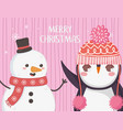 cute penguin and snowman with hat merry christmas vector image vector image