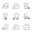 fast food truck icons set outline style vector image vector image