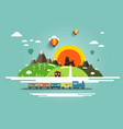 flat design landscape with steam train old castle vector image vector image