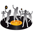 gray silhouettes dancing on vinyl on a white backg vector image vector image