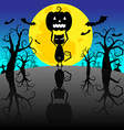 Halloween Background with Pumpkins and black cat vector image vector image