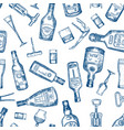 hand drawn seamless pattern with various alcohol vector image vector image