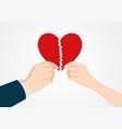 hands tearing apart heart symbol vector image vector image