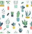houseplants seamless pattern abstract geometric vector image