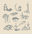 islamic hand drawn included muslim pray mosque vector image