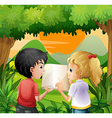 Kids discussing with a book at the forest vector image