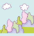 landscape foliage bushes greenery natural clouds vector image