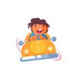 little boy in car vector image vector image