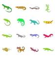 Lizard icons set cartoon style vector image