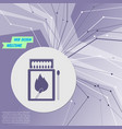 matchbox and matches icon on purple abstract vector image