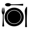 metal cutlery plate setting vector image