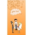 Orange Wedding Card Template vector image vector image