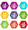 phone is ringing icons set 9 vector image