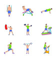 physical exercises icons set cartoon style vector image vector image