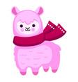 pink cartoon alpaca with scarf vector image