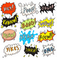 popart comic bubble set isolated on white backdrop vector image