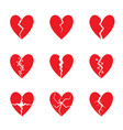 red heart set vector image vector image