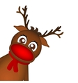 Reindeer peeking sideways on a white background vector image vector image