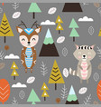 seamless pattern with deer and raccoon in forest s vector image