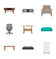 set of design realistic symbols with couch office vector image