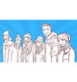 sketch smiling group of young people wear winter vector image