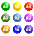 small village house icons set vector image vector image