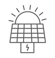 solar panel thin line icon ecology and power sun vector image vector image
