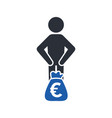 stickman with a bag of money euro currency vector image vector image