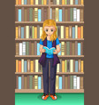 student girl reading in the library vector image