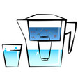 water filter and glass vector image vector image