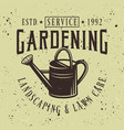 watering can gardening service emblem vector image