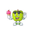 with ice cream character granny smith green apple vector image vector image