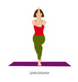 woman in garudasana or eagle yoga pose vector image vector image