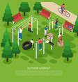 workout in park isometric vector image vector image
