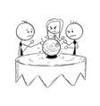 conceptual cartoon of business people predict vector image