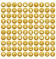 100 war icons set gold vector image vector image